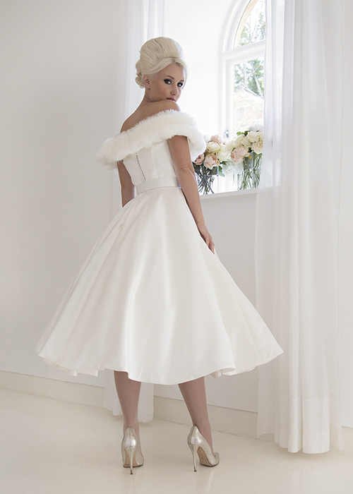 17016-gloria-vintage-tea-length-wedding-dress-fur-muff-ivory-satin-8-house-of-mooshki